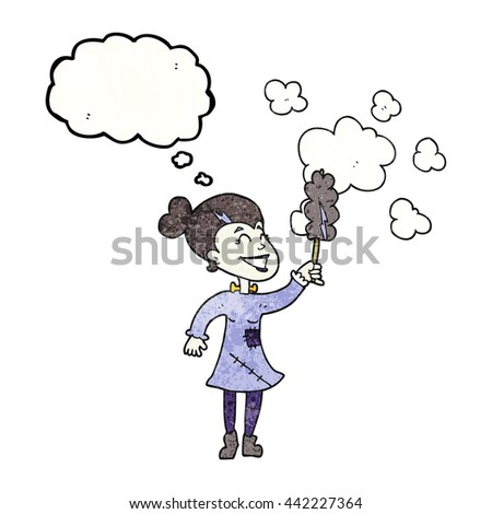 freehand drawn thought bubble textured cartoon zombie woman dusting - stock vector