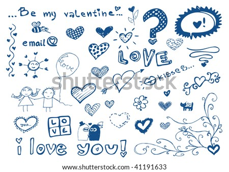 freehand elements with love / doodles set / vector illustration - stock vector