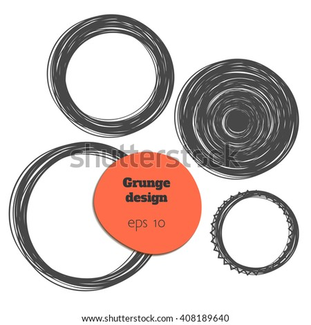 Freehand graphic circles isolated on white background, vector illustration - stock vector