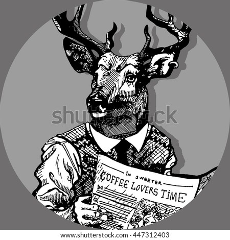 Freehand hand drawn ink hipster man with deer head and newspaper in hands. Deer man sit on toilet and read newspaper with coffee text. Stamp for man toilet door sign