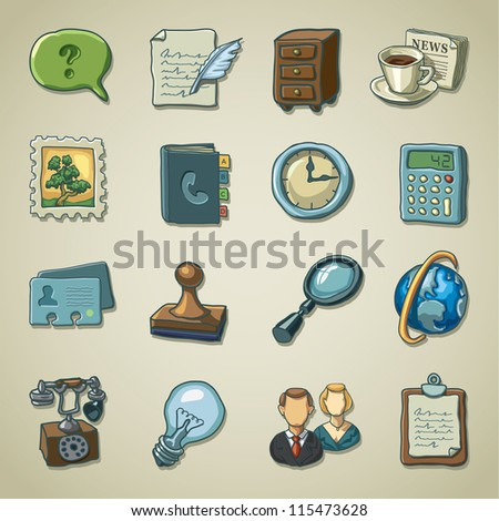 Freehand icons - Business and office - stock vector