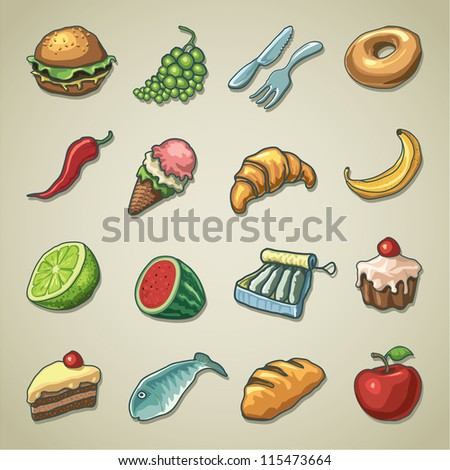 Freehand icons - Food - stock vector
