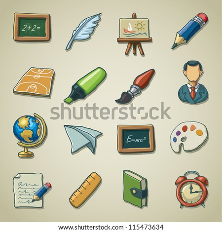 Freehand icons - School - stock vector