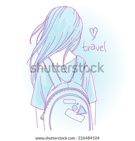 Freehand illustration, line art with light sky blue color -  traveler backpacker long haired girl with backpack, back view - stock vector