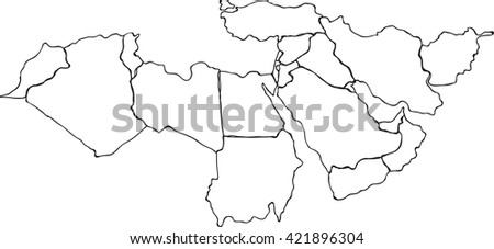 Freehand Middle east and nearby countries map sketch. Vector illustration - stock vector
