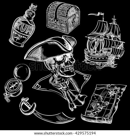 Freehand pirate set for your design.Map, tricorn, cutlass, skull, ship, bottle of rum,chest, compass