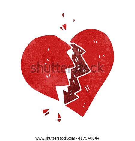 freehand retro cartoon broken heart - stock vector