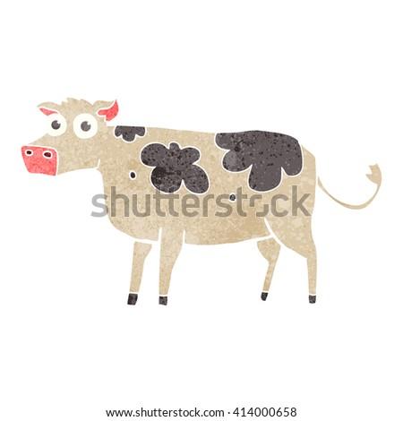 freehand retro cartoon cow - stock vector