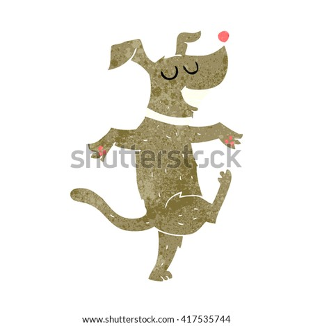 freehand retro cartoon dancing dog - stock vector