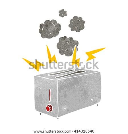 freehand retro cartoon faulty toaster - stock vector