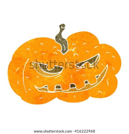 freehand retro cartoon halloween pumpkin - stock vector