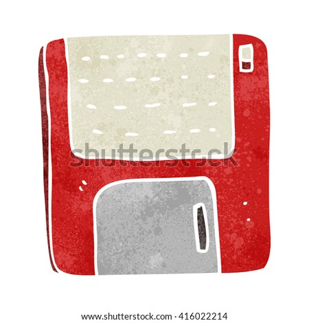 freehand retro cartoon old computer disk - stock vector