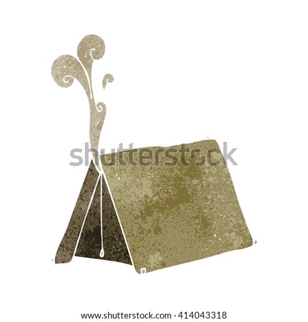 freehand retro cartoon old smelly tent - stock vector