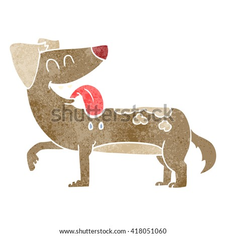 freehand retro cartoon panting dog - stock vector