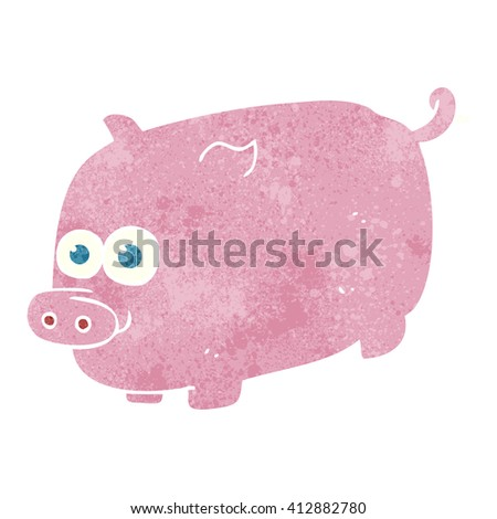 freehand retro cartoon pig - stock vector