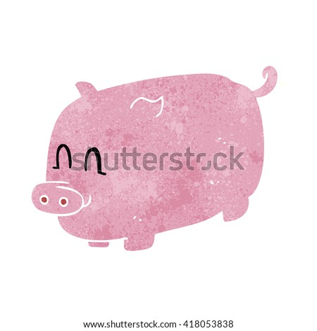 freehand retro cartoon pig - stock vector