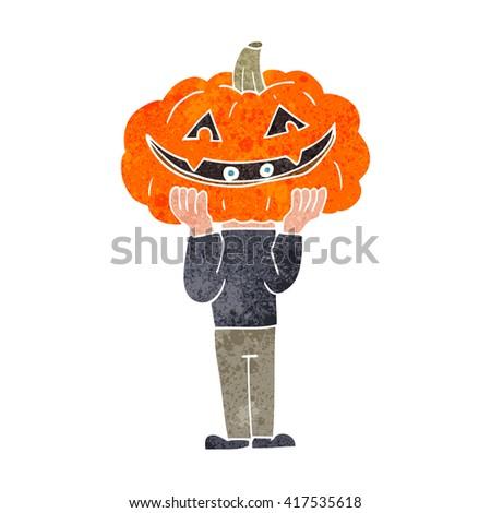 freehand retro cartoon pumpkin head halloween costume - stock vector