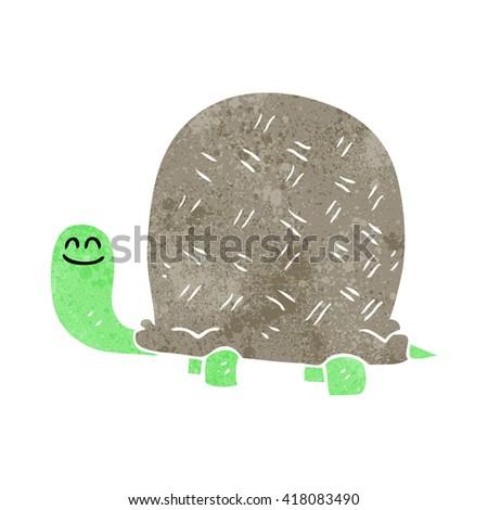 freehand retro cartoon tortoise - stock vector