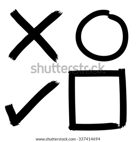 Freehand sketch of grunge Check mark buttons on white background, doodle hand drawn - stock vector
