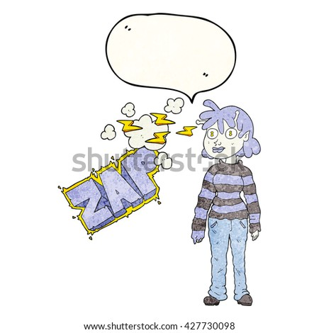 freehand speech bubble textured cartoon casual alien girl using telepathy - stock vector