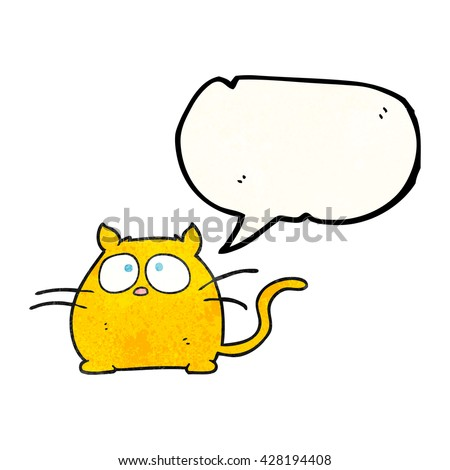 freehand speech bubble textured cartoon cat - stock vector