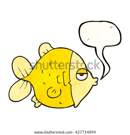 freehand speech bubble textured cartoon funny fish - stock vector