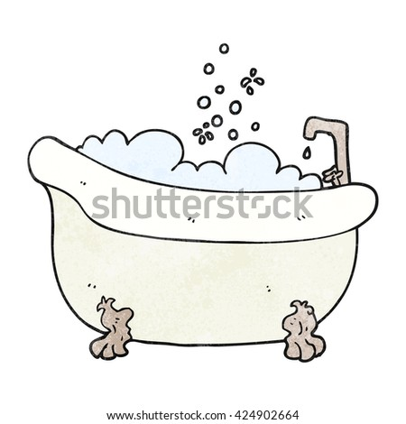 freehand textured cartoon bath full of water - stock vector