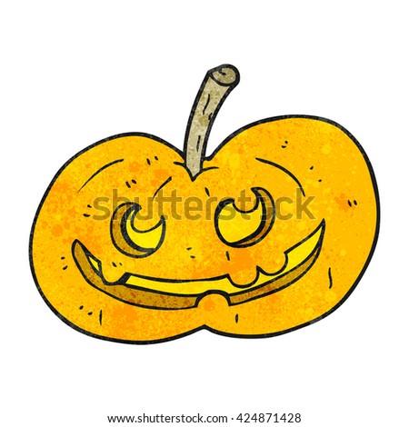 freehand textured cartoon halloween pumpkin - stock vector