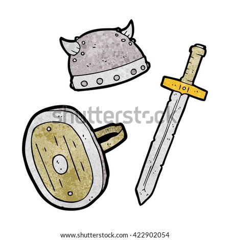 freehand textured cartoon medieval warrior objects - stock vector