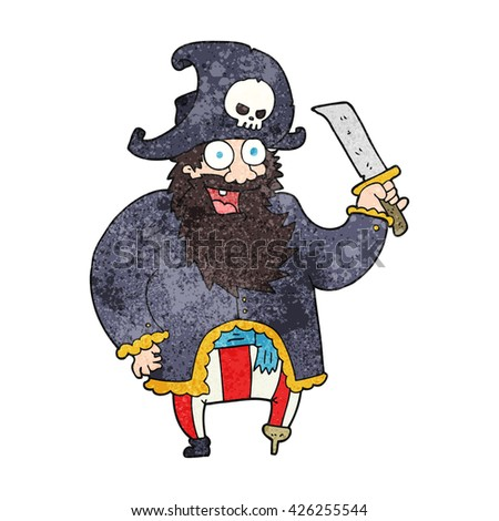 freehand textured cartoon pirate captain