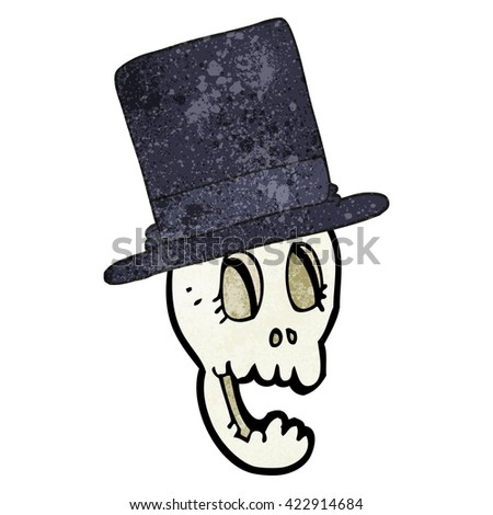 freehand textured cartoon skull wearing top hat