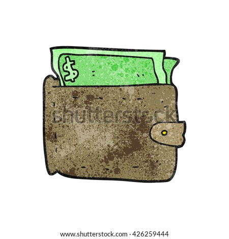 freehand textured cartoon wallet full of money - stock vector