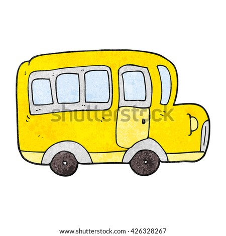 freehand textured cartoon yellow school bus