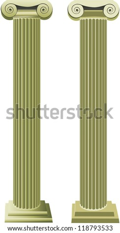 freehand vector column object one is done with gradients the other is without gradients/ Roman Columns