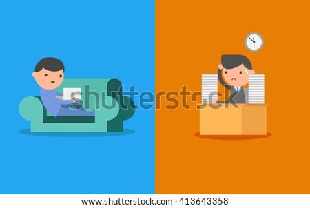 Freelance and Salary man. Business Concept Cartoon Illustration.  - stock vector