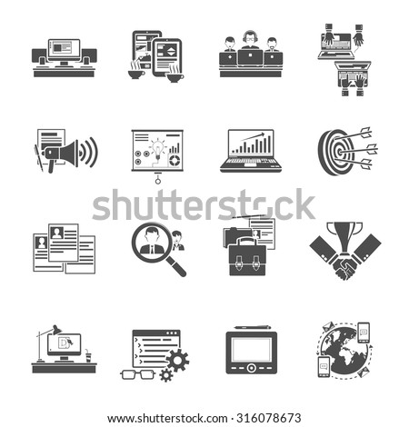 freelance concept creative jobs online via staff recruiting agency black icons set collection abstract isolated vector - Collection Agent Jobs