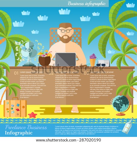 Freelance concept. man work with laptop on the beach. Feel of relax and sunbathe. - stock vector