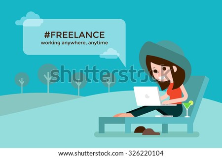 Freelance girl on beach chair. - stock vector