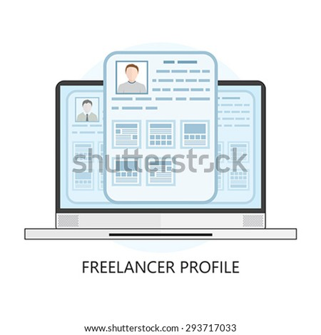 Freelance Icon with Laptop and User Profiles