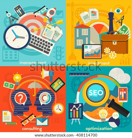 Freelance, management, consulting and optimization concept illustrations. Square composition, vector illustration - stock vector