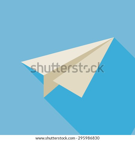 Freelance Paper Plane Illustration with Long Shadow. Freelance Paper Plane. Business Vector illustration. Flat Design Colorful Freelance Small Business Concept. Paper Office plane