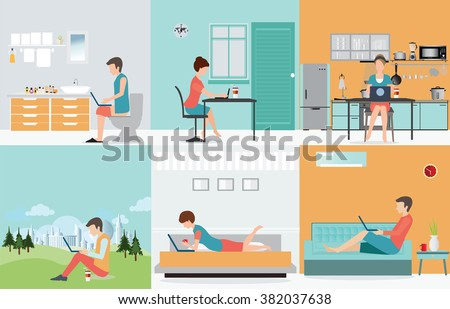 Freelance set with Various cartoon character design working at home, work from home, self employed, home office, work at home, freedom, in living room, bathroom toilet, conceptual vector illustration. - stock vector