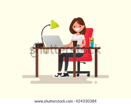 Freelance. The girl the designer or photographer behind a desktop. Vector illustration of a flat design - stock vector