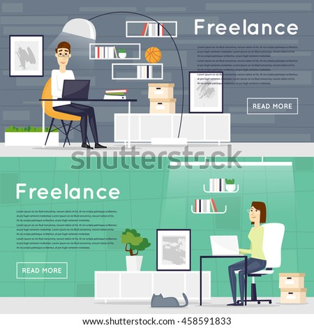 Freelance Working At Home Office Work Banners Flat Vector Illustration