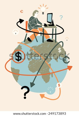 Freelancer and world. Concept vector illustration.