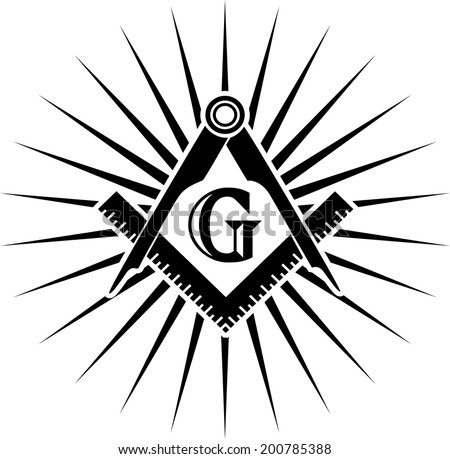 Freemasonry, Square And Compasses, G = Great Architect / God / Grand Lodge - stock vector
