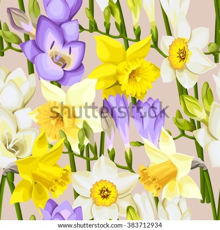 Freesia and daffodil vector seamless background