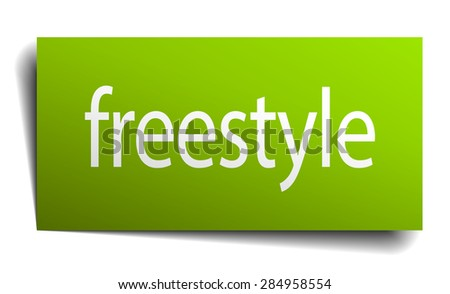 freestyle green paper sign isolated on white