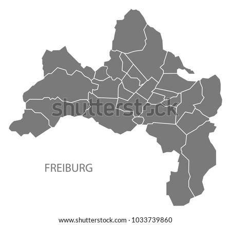 Freiburg City Map Boroughs Grey Illustration Stock Photo Photo