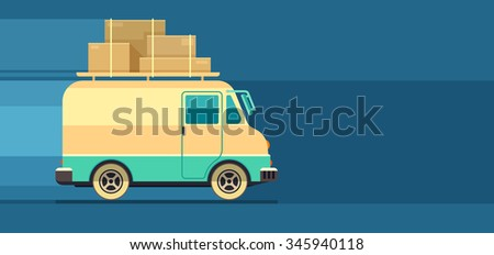 Freight cargo delivery transport minibus, vector illustration. Transparent objects used for lights and shadows drawing. - stock vector